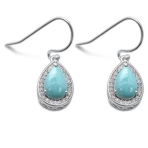 natural larimar and cubic zirconia pear shape earr